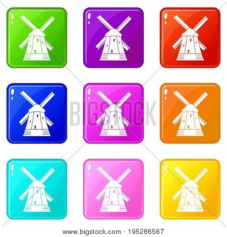 Mill icons of 9 color set isolated vector illustration