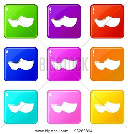 Clogs icons of 9 color set isolated vector illustration