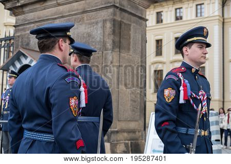 Prague, Czech Republic - 18 April 2017: Changing Of The Guards At The Entrance To The Presidential P