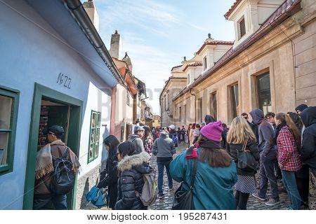 Prague, Czech Republic - 18 April 2017: Tourists Around Golden Lane, The Street Situated In Prague C