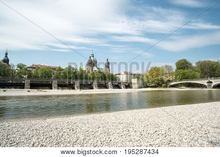 Munich, Germany - 21 April 2017 : View Of Building At The River Bank Of Isar River In Munich. With S