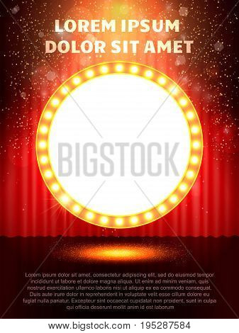 Poster Template With Retro Casino Banner.  Design For Presentation, Concert, Show