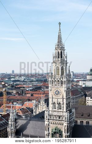 Aerial View Of Munich, Germany With Rathaus-glockenspiel On Foreground