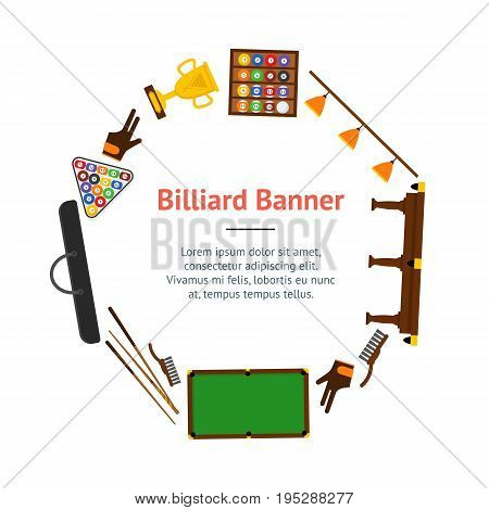 Billiard Game Elements and Equipment Banner Card Circle for Web or App Flat Design Style. Vector illustration