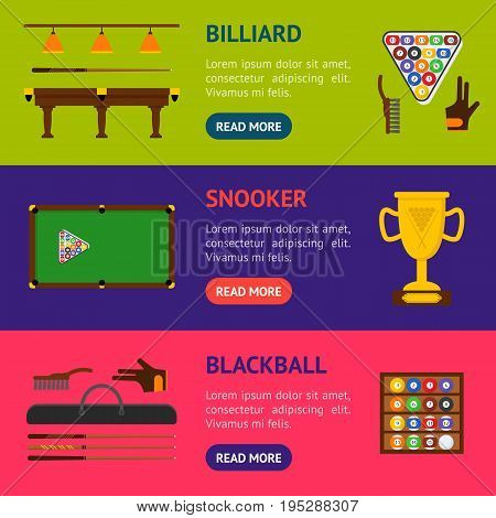 Billiard Game Elements and Equipment Banner Horizontal Set for Web or App Flat Design Style. Vector illustration