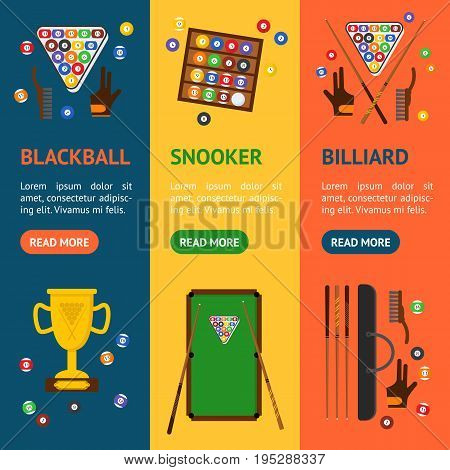 Billiard Game Elements and Equipment Banner Vecrtical Set for Web or App Flat Design Style. Vector illustration