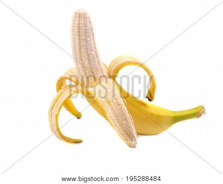 Close-up picture of peeled banana, isolated on a white background. Organic, fresh, sweet, ripe bright yellow banana. Tasty and juicy peeled banana. Healthy and nutritious vitamins.