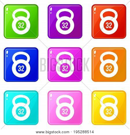 Kettlebell 32 kg icons of 9 color set isolated vector illustration