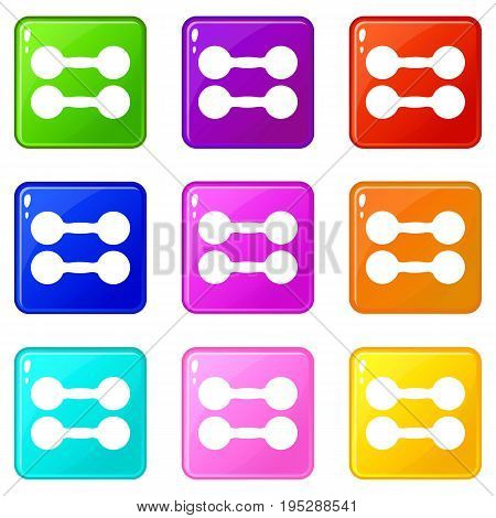 Pair of dumbbells icons of 9 color set isolated vector illustration