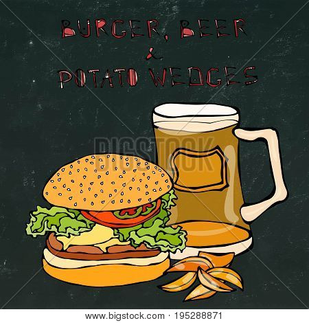 Big Hamburger or Cheeseburger, Beer Mug or Pint and Fried Potato. Burger Lettering. Realistic Doodle Cartoon Style Hand Drawn Sketch Vector Illustration. Isolated on a Black Chalkboard Background.