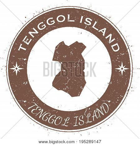 Tenggol Island Circular Patriotic Badge. Grunge Rubber Stamp With Island Flag, Map And Name Written