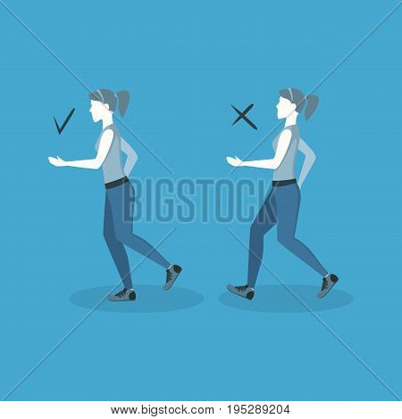 Correct or Incorrect Positions for Running Health Care Concept on a Blue. Flat Design Style. Vector illustration