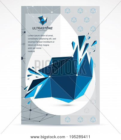 Digital technologies company advertising flyer. Abstract blue deformed isometric construction low poly vector.