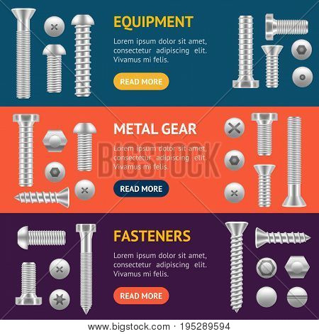 Realistic Screw Different Shapes Banner Horizontal Set Detailed Construction Hardware Equipment Stainless. Vector illustration