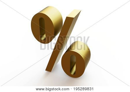 The symbol «percent». 3d illustration on isolated white background.