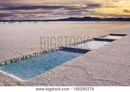 Salinas Grandes in a salt desert in the Jujuy Province Argentina Andes