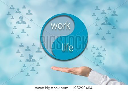 Work life balance concept. Presenting gesture of businessman or coach giving advice about work-life balance