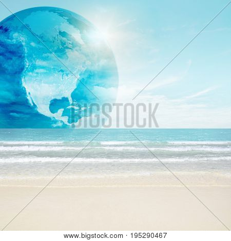 America globe on tropical beach. 3d and photo montage