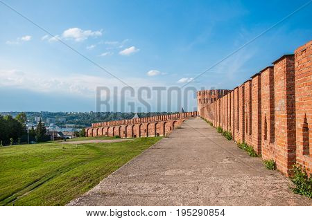 A Pedestrian Road At The Smolensk Fortress Wall Leading To Orel Tower