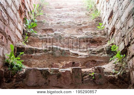 A Closeup Of A Damaged Steps Of Ancient Brick Fortress