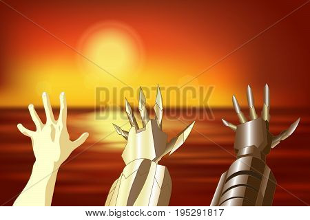 The hand of a man a robot an iron hand. Anime background for manga. Vector illustration