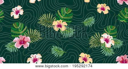 Brazilian rain forest. Seamless vector pattern with palm leaves and hibiscus flowers. Vintage motifs. Beach textile collection.