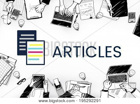 Articles concept card on a table