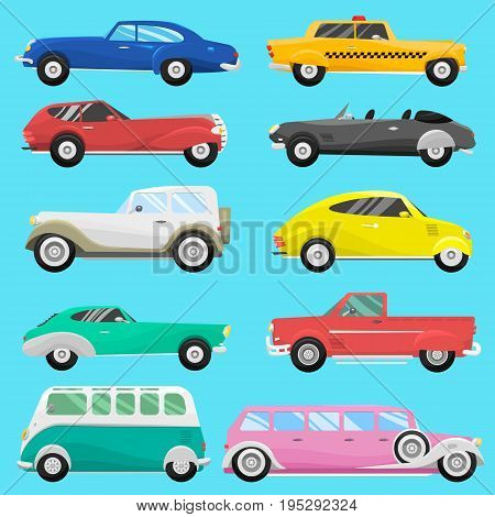 Retro vintage old style car vehicle automobile exclusive speed sport transport antique garage classic auto vector illustration. Machine engine model automotive race.