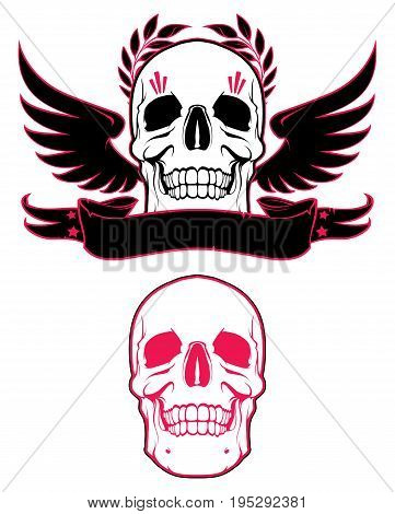 Skull with wings and ribbon. Design element
