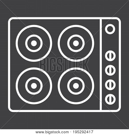 electric hot plate line icon, electrical stove and appliance, vector graphics, a linear pattern on a black background, eps 10.
