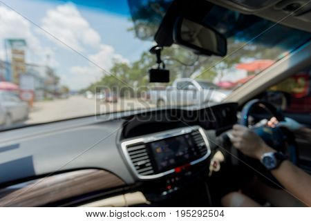 Blur Image, Chauffeur Driver Taxi Driving Car On Road
