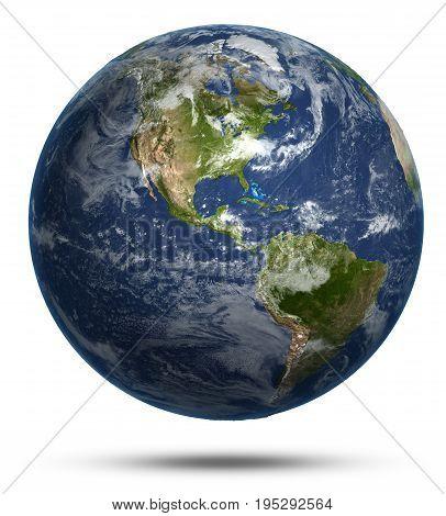 America continent map. Earth globe model, maps courtesy of NASA