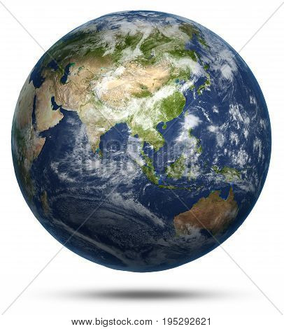 Asia and Australia world map. Earth globe model, maps courtesy of NASA