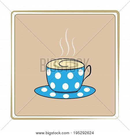 Cup and saucer for tea. Label for cafe. Isolated silhouette mug on white background. Icon illustration bowl for drink. Aroma symbol hot breakfast and morning coffee for banner Flat vector illustration