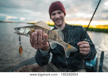 Happy fisherman sits in the boat on the lake and holds the fish (zander, Sander lucioperca)
