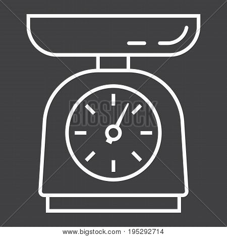 Kitchen scales line icon, household and appliance, vector graphics, a linear pattern on a black background, eps 10.