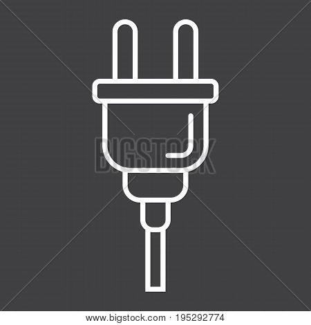 Electric plug line icon, power and appliance, vector graphics, a linear pattern on a black background, eps 10.