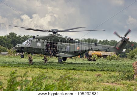 Nh-90 Helicopter Landing Soldiers