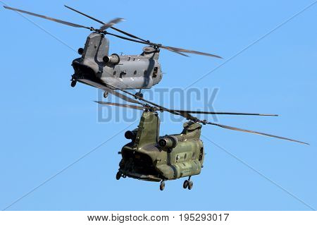 Military Ch-47 Chinook Helicopters