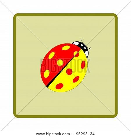 Ladybird color isolated. Illustration ladybug in green frame. Cute colorful sign insect symbol spring summer garden. Template for t shirt apparel card poster. Design element. Vector illustration