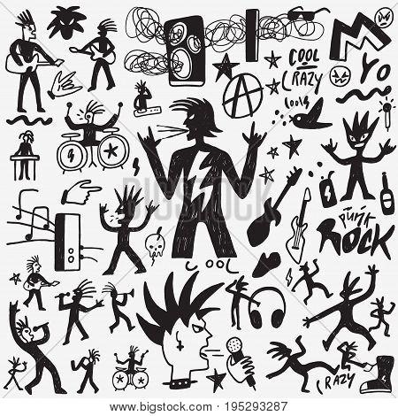 Rock music vector cartoon set , design element