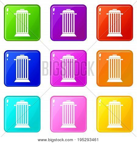 Street trash icons of 9 color set isolated vector illustration