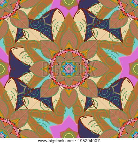 Textile print for bed linen jacket package design fabric and fashion concepts. Abstract vector seamless pattern flower design in blue and pink colors. Floral seamless pattern with watercolor effect