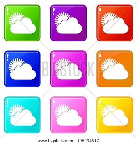 Sun and cloud icons of 9 color set isolated vector illustration