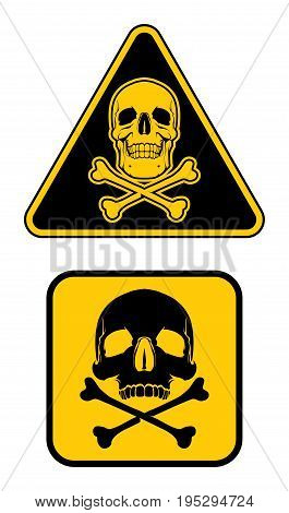 Yellow danger sign. Human skull with crossbones