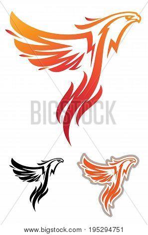 Mythical bird phoenix. Logo, logotype or mascot for college sport team
