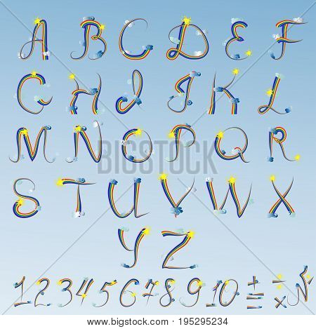 English Alphabet, Letters And Numbers Written In A Rainbow Contour, Decorated With Clouds And The Su