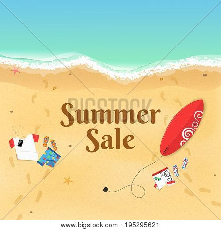 Summer Sale. Cartoon sea beach. Top view of the beach. Accessories clothes and a surfboard on the sandy beach. Beautiful text on the sand. Vector illustration