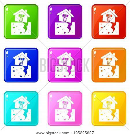House after an earthquake icons of 9 color set isolated vector illustration