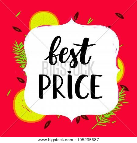 Best price sale card on the winter background with fruits. Best price lettering. Vector illustration